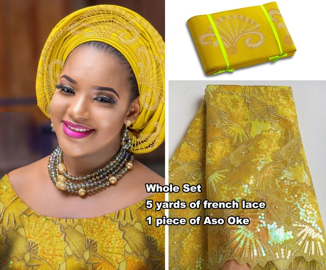 5 yards yellow gold African french lace tulle fabric Nigerian sewing clothes matching Aso Oke headtie Gele Lots Sequins hot sale