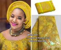 Allover sequins 5 yards African french lace tulle fabric matching Aso Oke Full length headtie gele Headwrap Wise choice