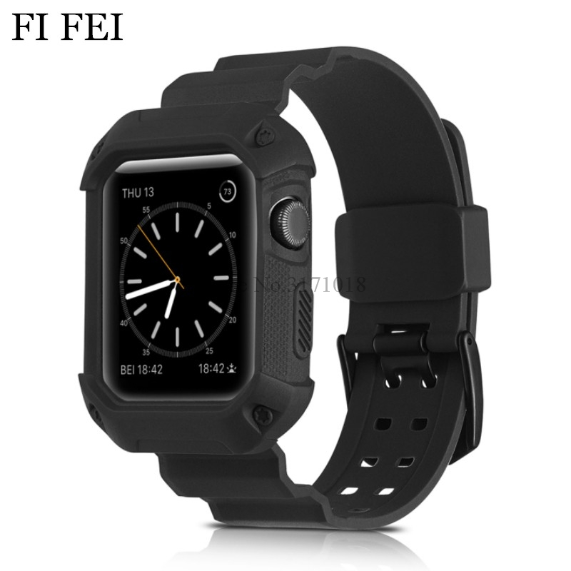 FI FEI TPU Soft Silicone Rubber Watchband Protective Case For Apple Watch Series 1 2 3 38mm 42mm 42 mm Band Wrist Strap Bracelet pj 002 protective silicone case wrist band for gopro hero 3 3 wi fi remote controller red