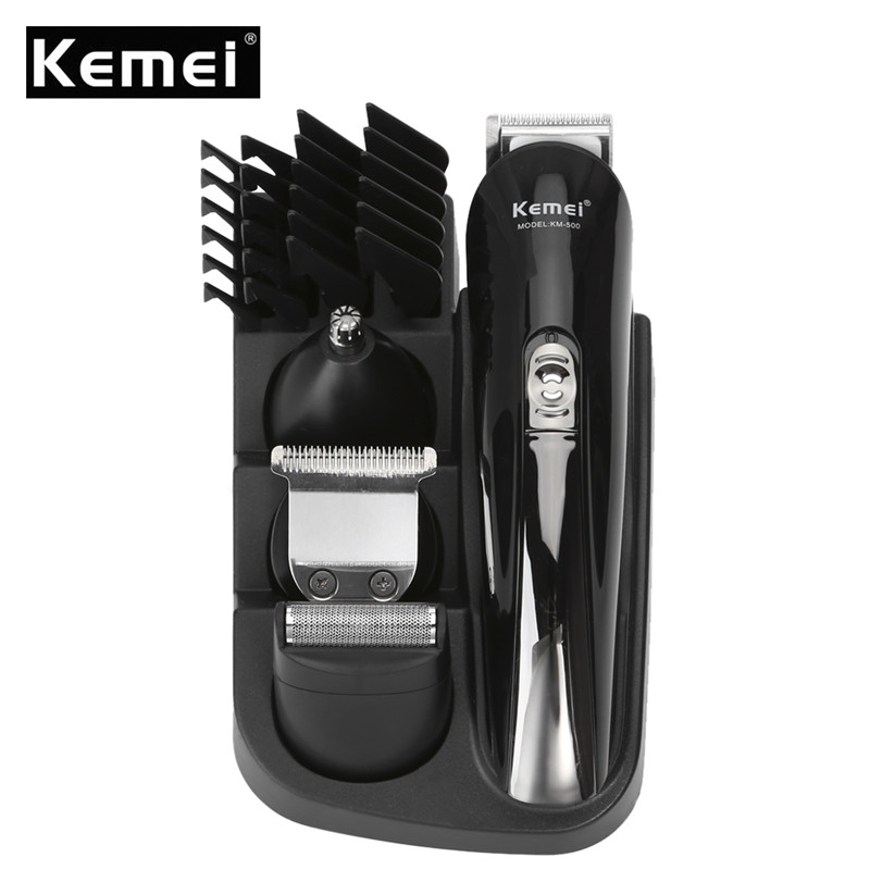 Kemei New 8 in 1 Rechargeable Hair Trimmer Set Electric Men Barber Shaver Beard Trimmer Hair Cutting Machine Men's Grooming Kit lucky chance in may men shandbags 8