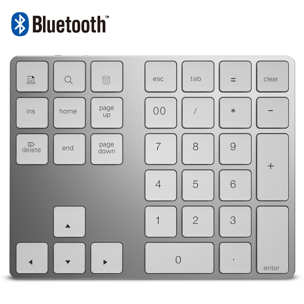 34 Keys Bluetooth Wireless Numeric Keypad Aluminum Mini Numpad with More Function Keys Digital Keyboard Wireless For Apple PC motospeed k22 mechanical numeric keypad wired 22 keys mini numpad backlight keyboard extended layout for cashier red switch