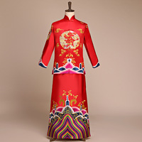 Traditional Embroidery Groom Marriage Clothing Vintage Long Robe For Male Chinese Style Hanfu Costume Set Wedding Tang Suit