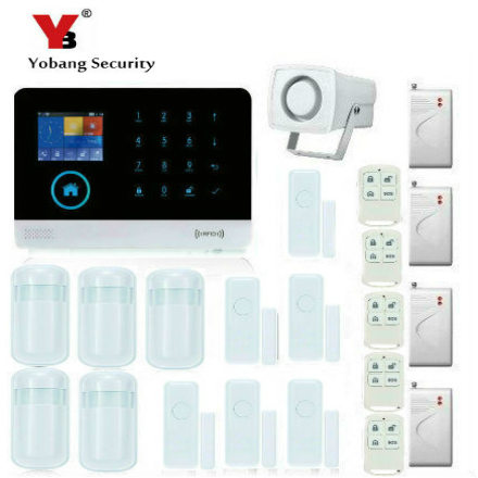 YobangSecurity Wireless Wifi Home Security System GSM GPRS RFID Alarm System Smoke Detector Shock Sensor PIR Motion Door Sensor yobang security wifi gsm wireless pir home security sms alarm system glass break sensor smoke detector for home protection