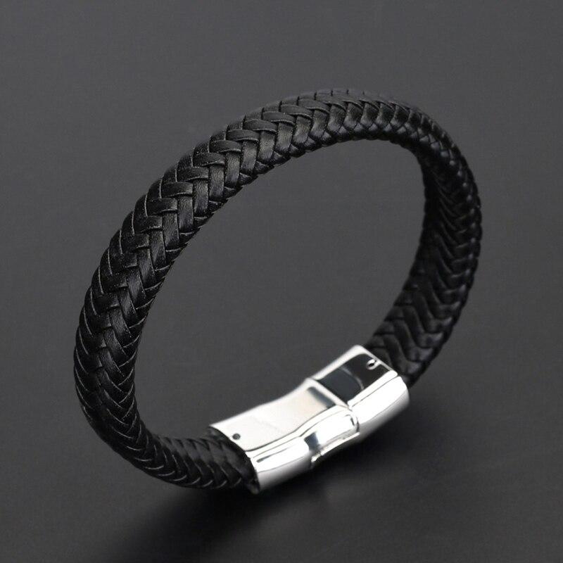 NIUYITID cuero negro hombres pulsera aleación hebilla Metal hombre pulseras accesorios joyería masculina venta al por mayor pulsera hombre