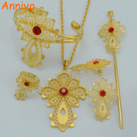 Ethiopian Cross Jewelry Sets Necklace Earrings Ring Hair Pin Bangle Gold Plated Africa Bride Wedding Eritrea