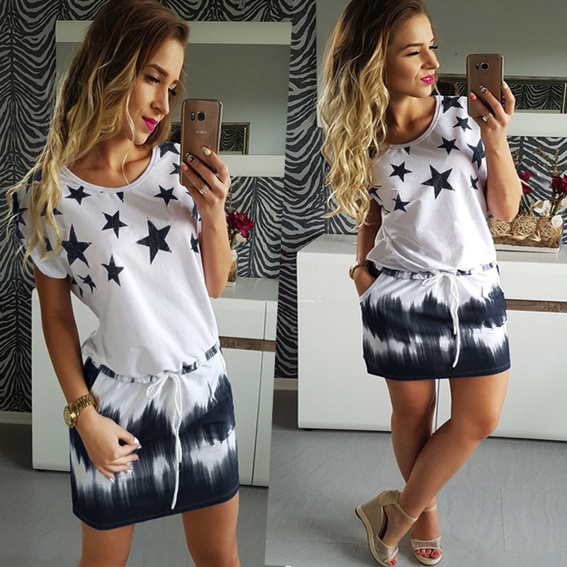 Hot Plus Size Women Summer Dress Sweet Beach 5 Stars Gradual Print Blue Black Dresses Fashion Elastic Waist Mini Dress Women 2XL
