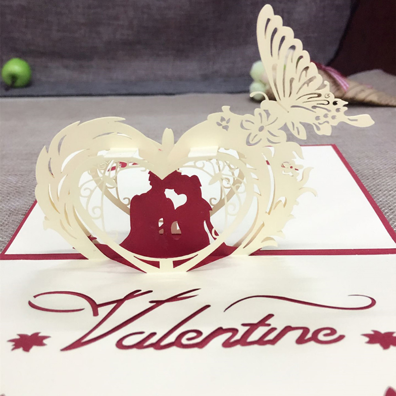 1pcs 샘플 3D 레이저 커팅 페이퍼 커팅 인사말 팝업 Kirigami 카드 결혼 사랑 Ivitation 사용자 정의 엽서 소원 사랑 선물