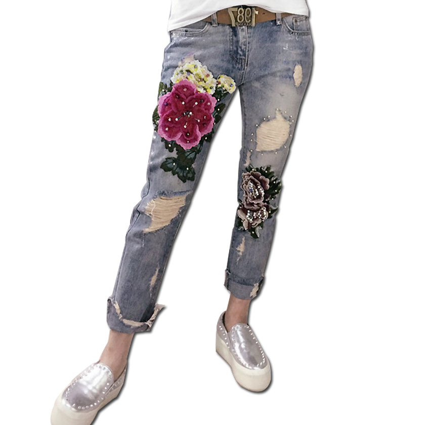 Europe Fashion Spring Three dimensional Flower Gilded Elastic Hole Feet beaded embroidery ripped denim female elastic Jeans europe in the spring of 2016 new pink panther hole fashion sequins all match feet jeans