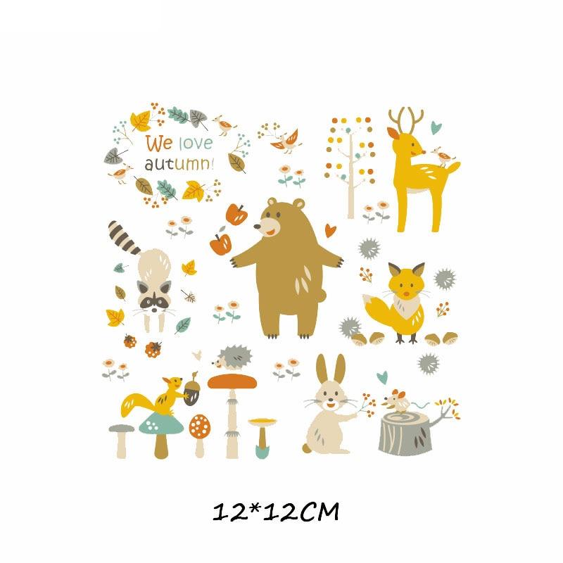 Железные милые нашивки в виде животных набор для детей Одежда DIY Футболка аппликация теплопередача виниловая нашивка единорога наклейки термопресс - Цвет: 383