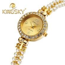 Высокое Качество Роскошный Модный Бренд Золото с жемчугом цепи Часы Женские Платья Женщин Японии Кварцевые Часы Relogio