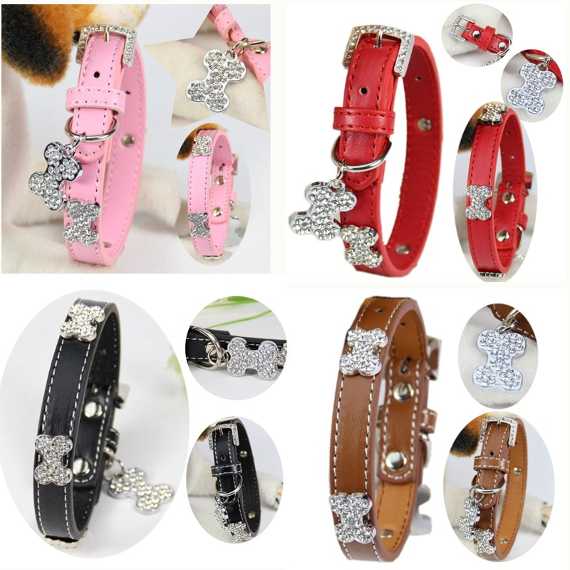 (1 piece / lot ) Perro Collar for small Large Dog S M L Pink Pu Leather Material Bling Diamond Bone Luxury Puppy Big Dog Collar