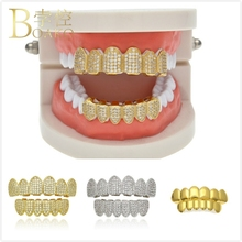 BOAKO Bling Men Grillz Gold Dental Grills Hip Hop Tooth Cap Rapper Teeth grillz Caps Punk Iced Out Party Jewelry Z3