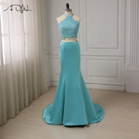 ADLN Sexy Halter Evening Dress Sleeveless Beaded Applique Mermaid Evening Gowns Cheap Two Pieces Dress Design