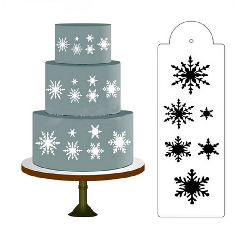スノーフレークフェイスペインティングカップケーキステンシルケーキ絵画ステンシルフォンダンケーキ飾るツールベーキング金型