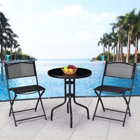 3 Pcs Outdoor Folding Bistro Table Chairs Set Garden Furniture Sets Sturdy Round Table Folding Armless Chair OP3371