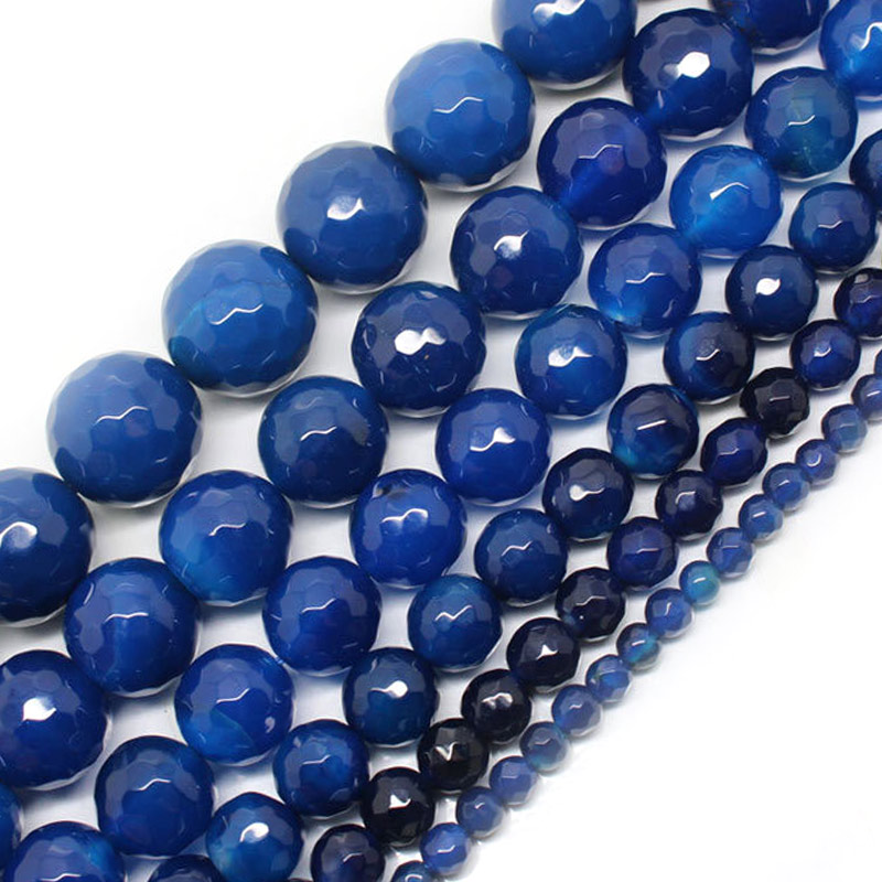 4-16mm Natural Blue Agates beads For Jewelry Making Beads Bracelets 15inch Needlework DIY Beads Necklace Earring Trinket