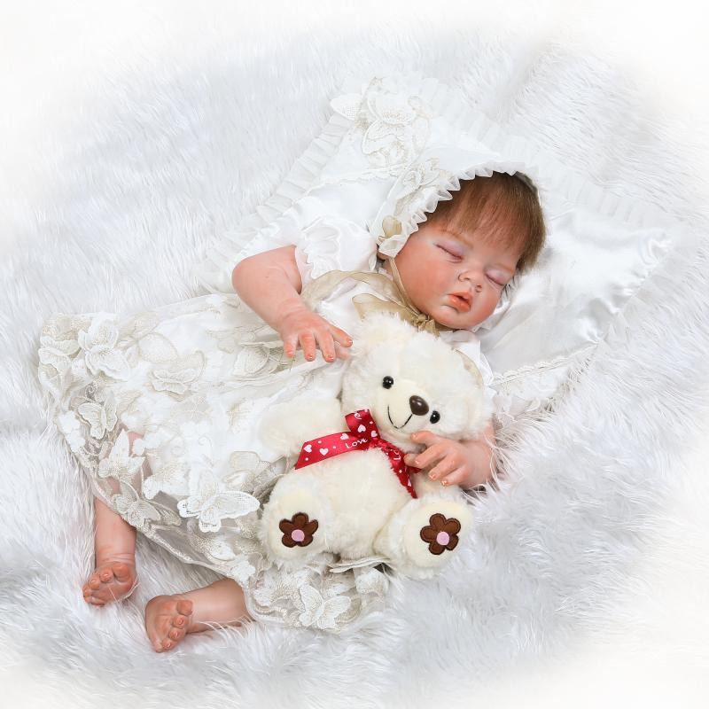 55 cm Silicone Reborn Baby Girl Toys Educational Princess Baby Doll 22 Inch Lifelike Vinyl Babyborn Dolls Gift For New Year 2017 lifelike american 18 inches girl doll prices toy for children vinyl princess doll toys girl newest design