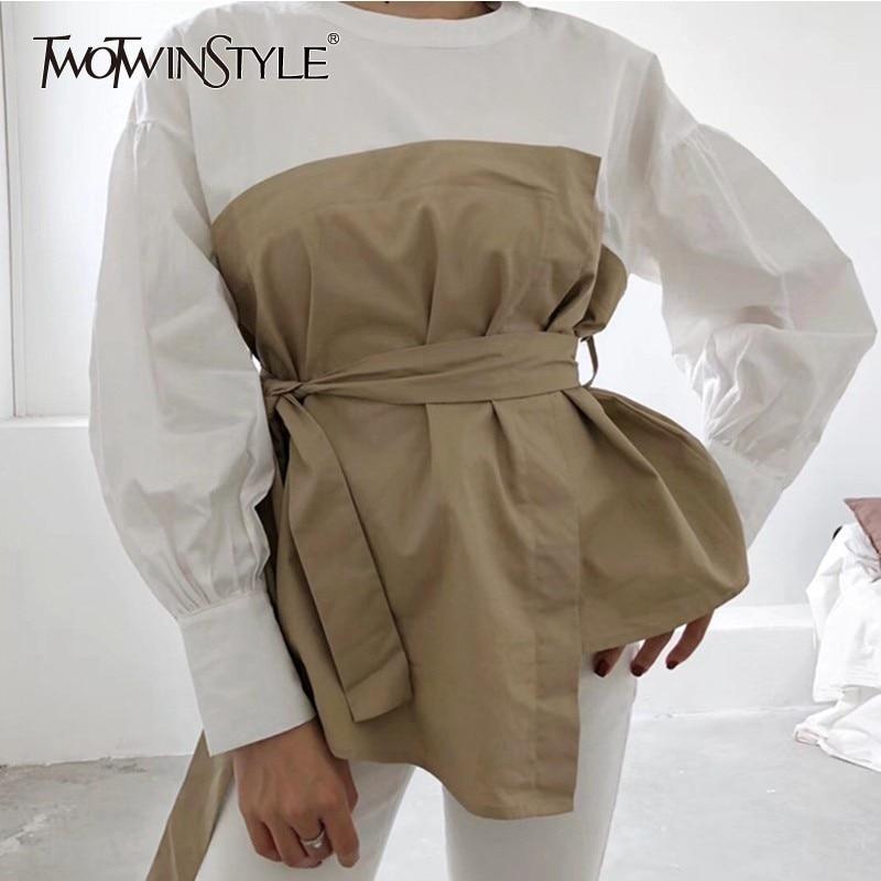 KCatsyPlus Size Wide-Waisted Patchwork Contrast Zip Fly Hooded Woollen Coat