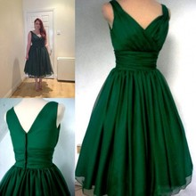 robe de soriee New Emerald Green Tea Length Prom Dress Plus Size 2019 V-neck Evening Party vestidos noiva