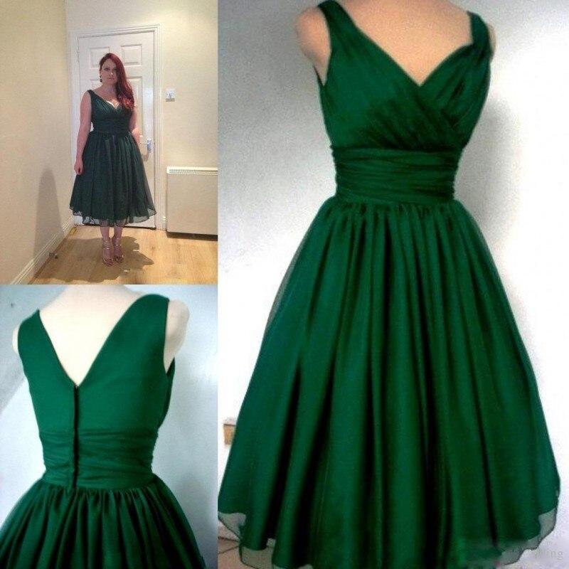 robe de soriee New Emerald Green Tea Length   Prom     Dress   Plus Size 2019 V-neck Evening Party   Dress   vestidos de noiva