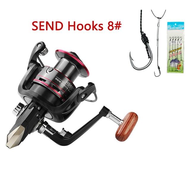 LINNHUE Fishing Reel All Metal Spool Spinning Reel 8KG Max Drag Stainless Steel Handle Line Spool Saltwater Fishing Accessories 6