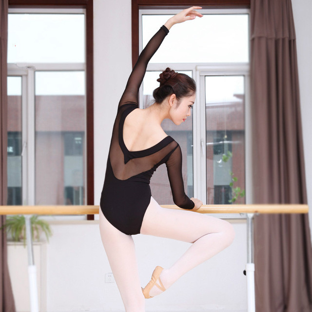 0d2737f019 Long Sleeve Women Sexy Ballet Leotards for Women Ballet Dancewear Adult  Dance Practice Clothes Gymnastics Leotard Competition