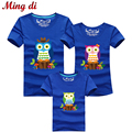 Ming Di Summer Fashion Family Matching Clothes Cartoon Owl T Shirt Children T Shirts Matching Mother Daughter Family Clothing