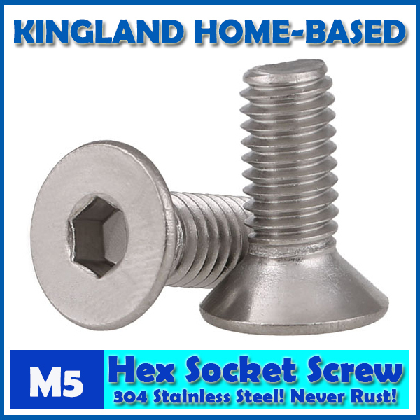 M5 DIN7991 Hexagon Hex Socket Countersunk Flat Head Cap Screws 304 Stainless Steel DIY Home Maintain Matel Working m4 din7991 hexagon hex socket countersunk flat head cap screws 304 stainless steel diy home maintain matel working