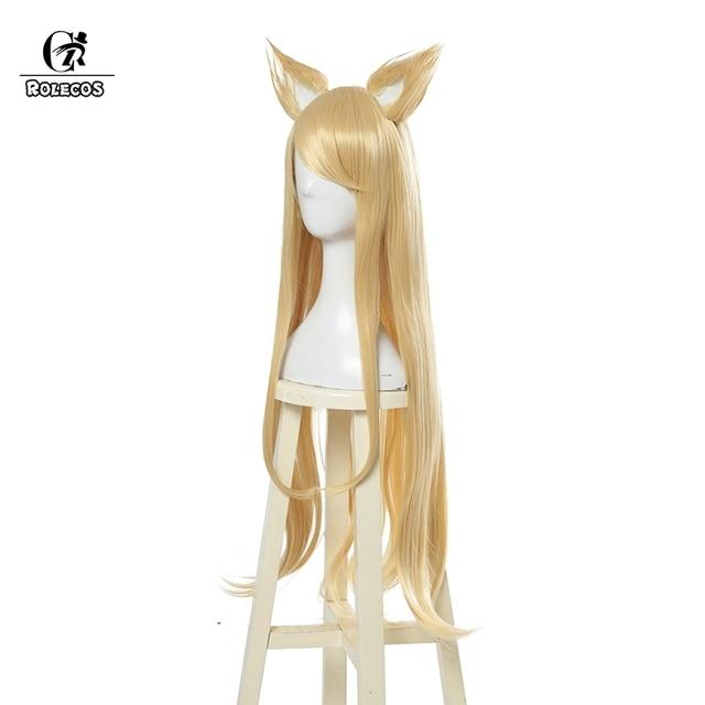 ROLECOS KDA Ahri Cosplay Hair LoL KDA Cosplay Headwear LOL KDA 90CM Yellow Long Women Hair Heat Resistant Synthetic Hair Perucas 1
