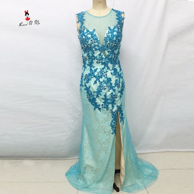 Real Sample Turquoise Long Elegant Prom Dresses Lace Evening Dress ...