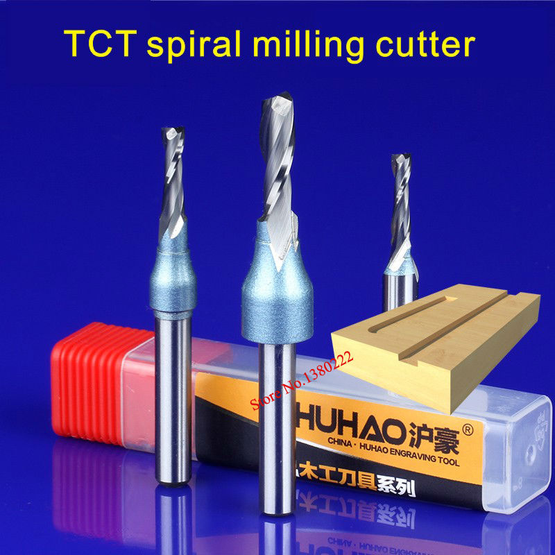 1/4*6*20MM TCT Spiral double-edged straight sword alloy milling cutter for engraving machine Woodworking slotted 5932  1 2 6 20mm tct spiral milling cutter for engraving machine woodworking tools millings straight knife cutter 5913