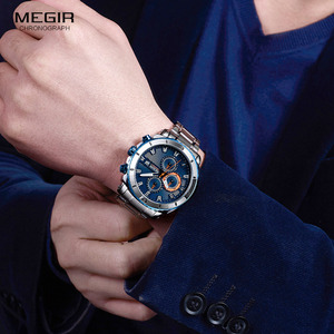 Image 4 - MEGIR relojes de cuarzo con cronógrafo para hombre, esfera azul, de pulsera, análogo, de acero inoxidable, a la moda, manecillas luminosas, 2075G 2
