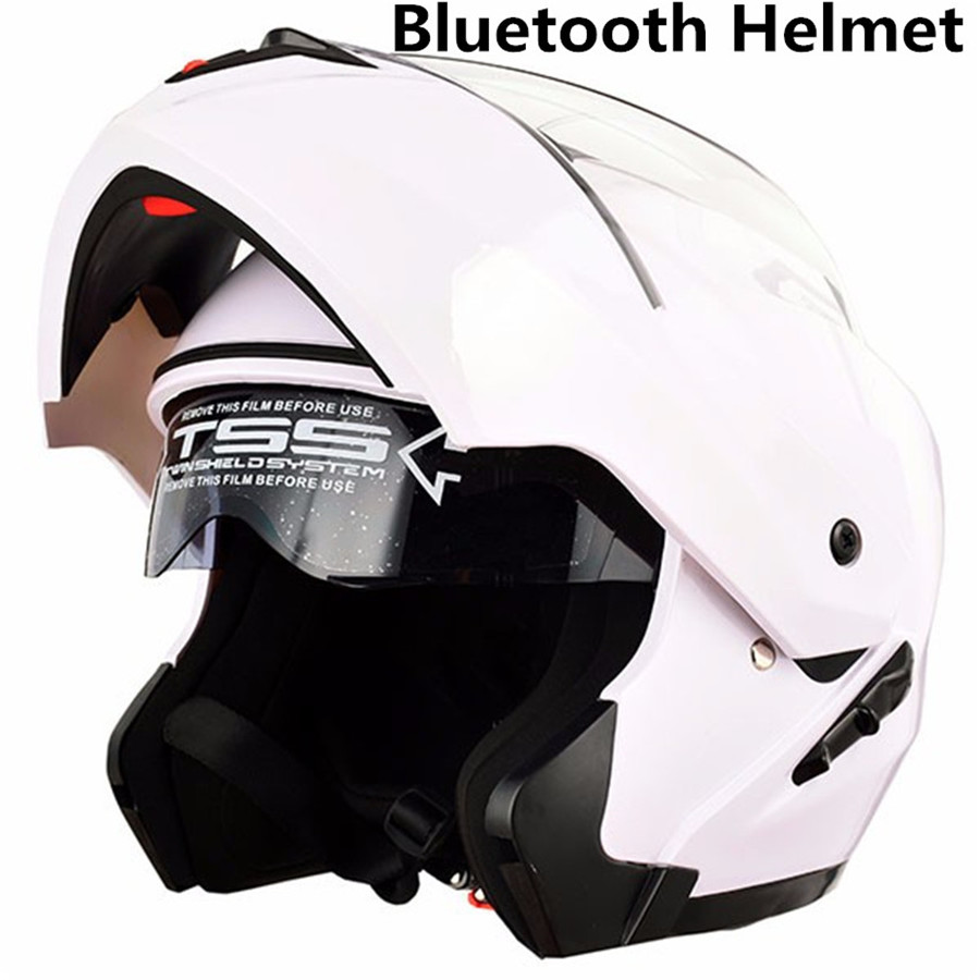 Встроенный Bluetooth Новый Модный мотоциклетный шлем с откидной крышкой и двумя линзами, мотоциклетный шлем для мотокросса с полным покрытием, ...