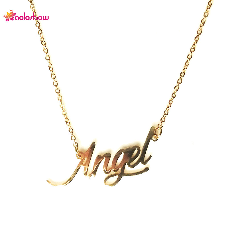 AOLOSHOW Women Necklace Script Name  Angel Stainless Steel Necklace Gift Letter Necklace Gold color Nameplate Necklace,NL-2414