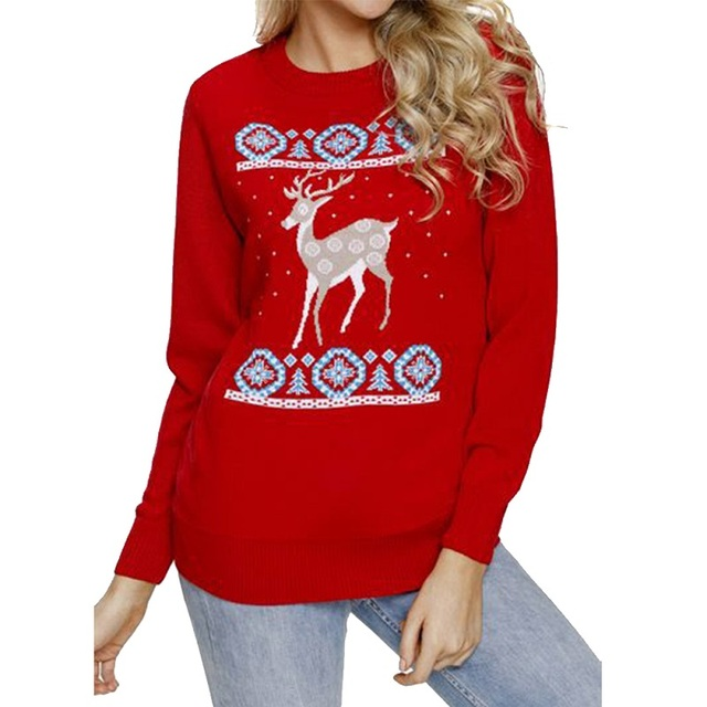 dfc81faed4f3 2018 New Autumn Winter Women Merry Christmas T-shirt Snowflakes Elk Print  Long Sleeve O Neck T Shirt Casual Fashion Cute Funny T
