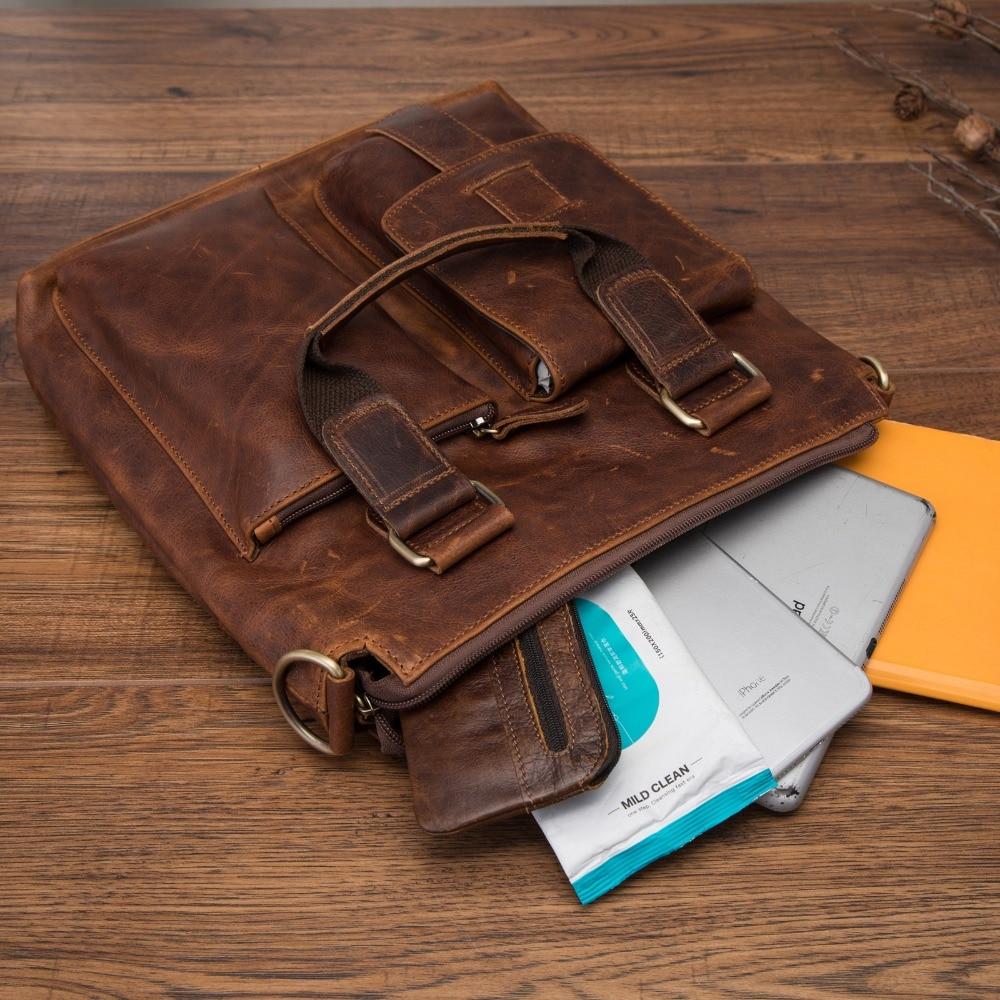 Leather Antique Retro Business Briefcase 12 Laptop Case Attache Portfolio Bag Tote Shoulder Messenger Bag