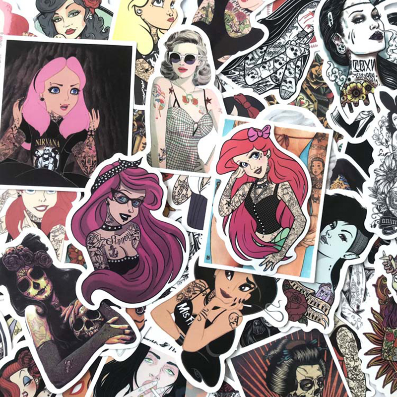 50pcs Sexy Girl Cartoon PVC Cute Waterproof Sticker For Luggage Wall Car Laptop Bicycle Notebook Laptop Toys Stickers F1