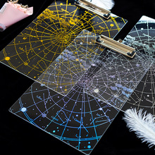 Super Cool Universe Sky Theme Stars Transparent  Clip Board A4 Acrylic Note Pad Gift Free Shipping