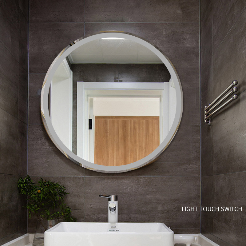 Round Smart LED Mirror Bathroom 50 60 70 80cm Big Hotel Glass Mirror Wall 5mm thick Touchscreen Bath Mirrors Display Temperature in Bath Mirrors from Home Improvement