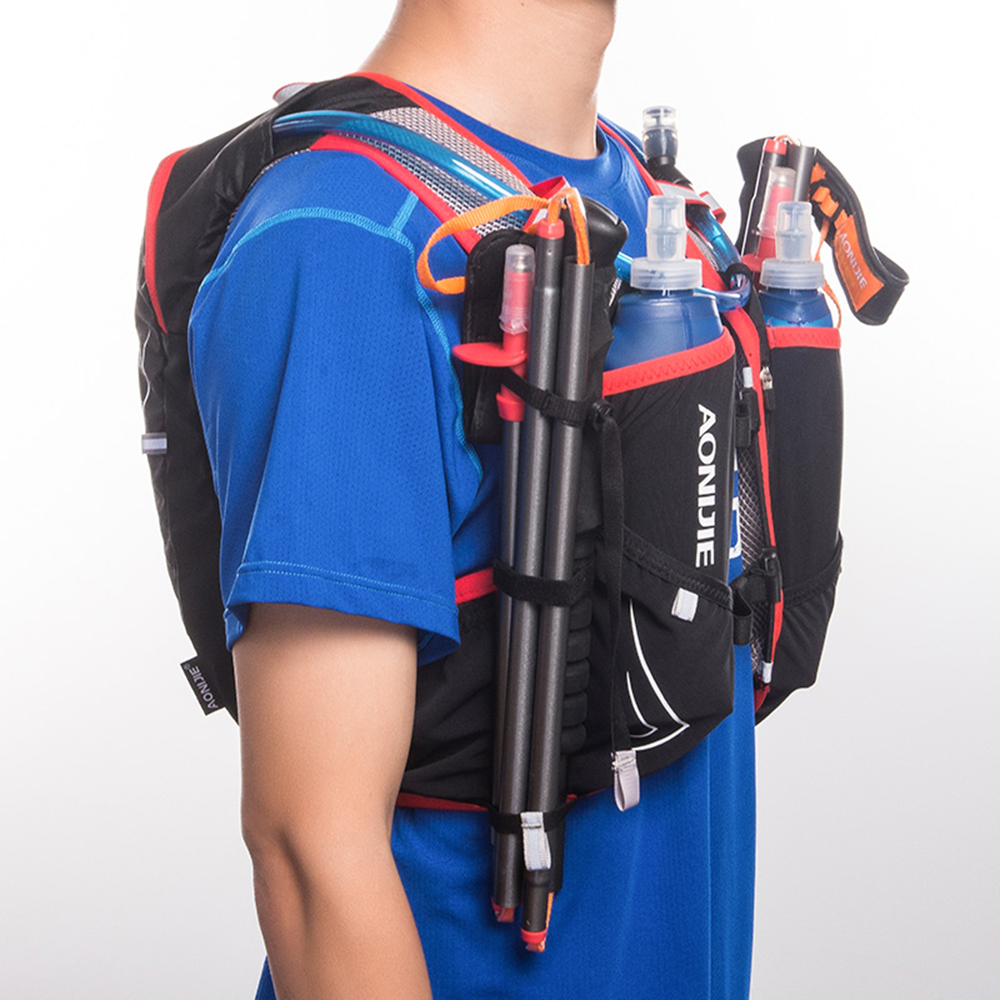 AONIJIE C928 5L sac à dos d'hydratation sac à dos gilet harnais pour 2L vessie d'eau randonnée Camping course Marathon Sports de course - 6