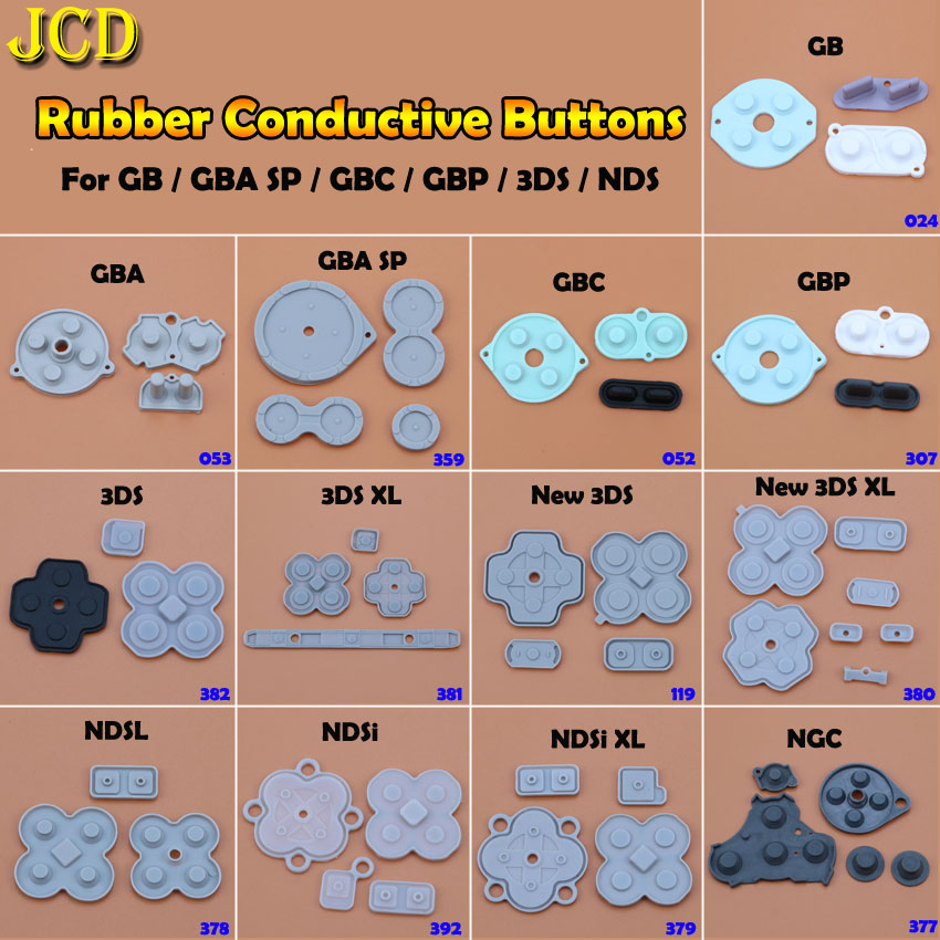 JCD Rubber Conductive Button A-B D-pad For Game Boy Classic GB GBC GBP GBA SP For 3DS NDSL NDSI NGC Silicone Start Select Keypad