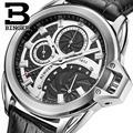 Suíça BINGER relógios homens marca de luxo relógios de Pulso relógio de Quartzo couro strap Chronograph Diver glowwatch B6012-4
