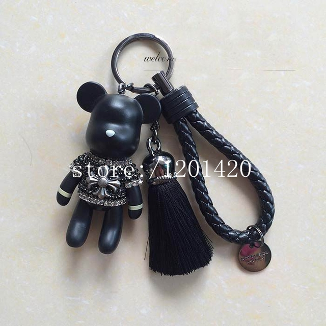 Tassel Bear Key chains sparkly Rhinestone cross Charm Leather Rope Cool Keychains