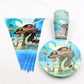 21pcs\lot Kids Favors Banners Baby Shower Plates Decorations Moana Paper Dishes Happy Birthday Party Cups Supplies Tableware