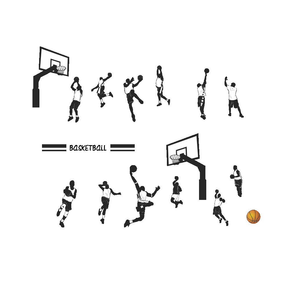 Playing Basketball Slam Dunk Sport Wall <font><b>Sticker</b></font> Removable Art Decors <font><b>Stickers</b></font> <font><b>Muraux</b></font> Wall <font><b>Stickers</b></font> Home Decor Living Room image