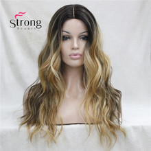 Long Heat Resistant Dark Brown With Golden Blonde Three Tone Ombre Wavy Lace Front Long Wig COLOUR CHOICES