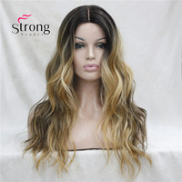 Long Heat Resistant Dark Brown With Golden Blonde Three Tone Ombre Wavy Lace Front Long Wig