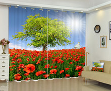 Photo Of Fowers Under The Sunshine 3D Window Curtain For Living Room