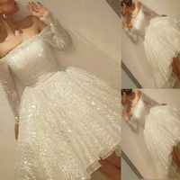 2018 New Arrival White Shiny Short Prom Gowns Sequins Off The Shoulder Long Sleeve Party Dresses A Line Girl Graduation Gowns