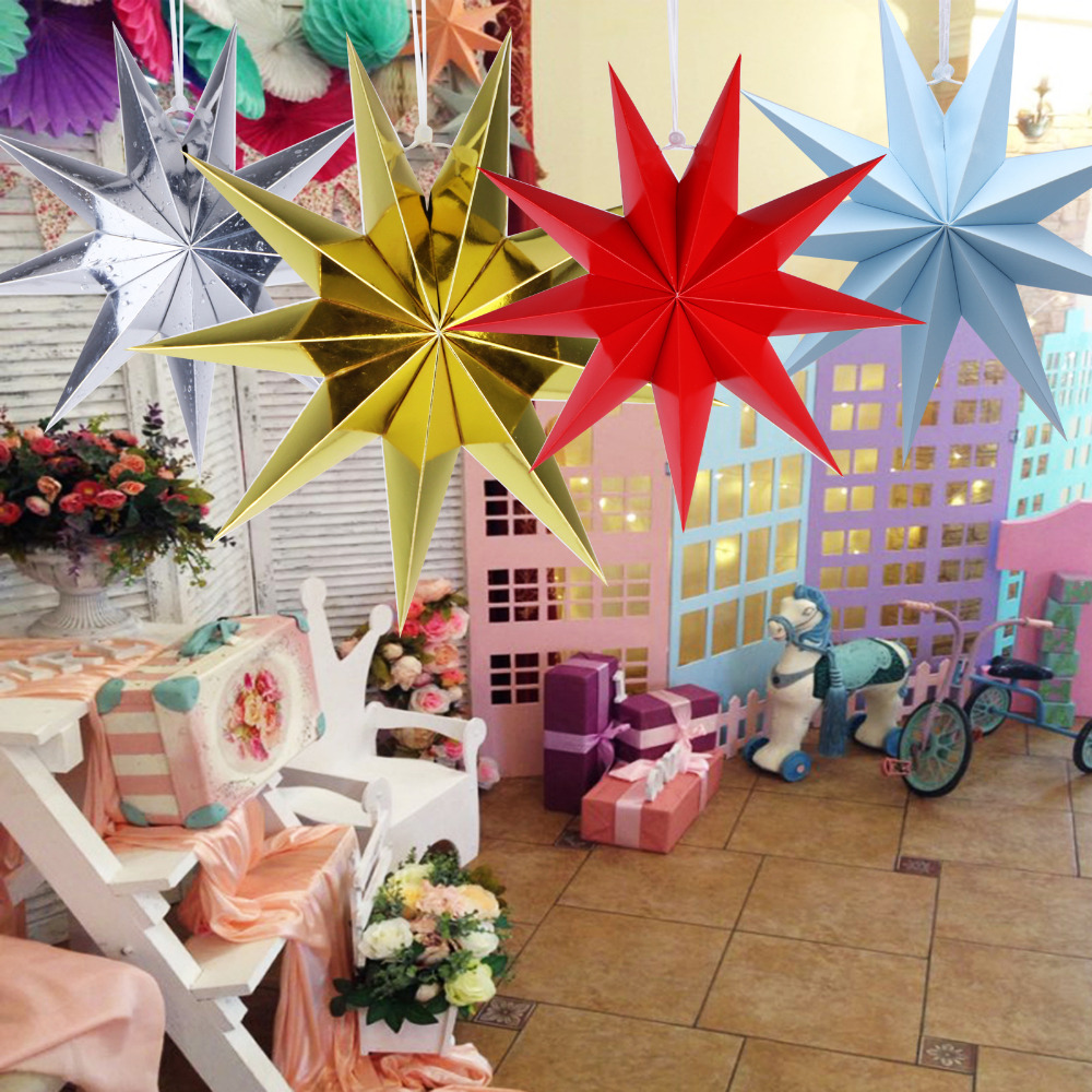 1pcs 30cm 3D Nine Angles Paper Star Hanging Paper Stars for DIY Wedding Birthday Showers Home Evening Party Window Decoration